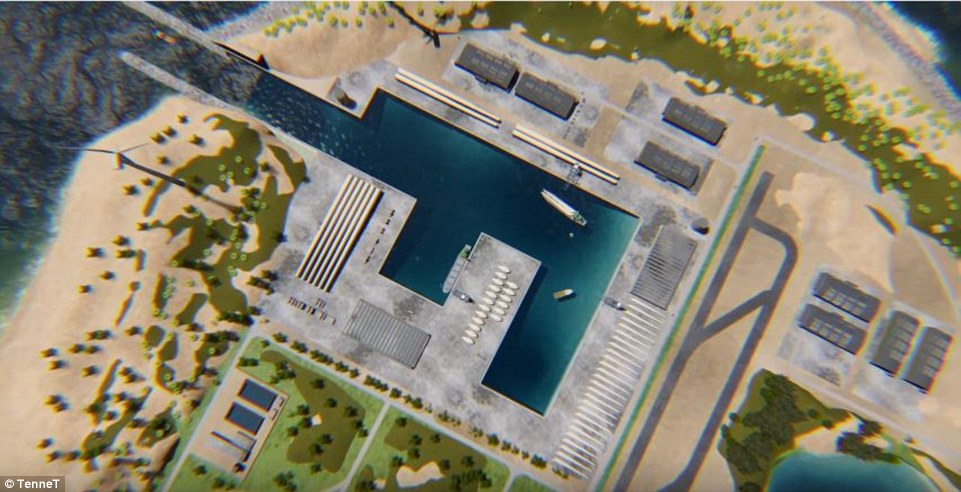 The Copenhagen Post reported that the island would cost just over £1.1 billion ($1.3 billion), if the green light is given to the project. It would include a harbour (artist's impression pictured) for the delivery of supplies to the small workforce stationed on the island
